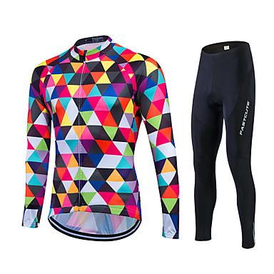 Fastcute Herrn Damen Langarm Fahrradtrikots mit Fahrradhosen Fahhrad Strumpfhosen/Lange Radhose Trikot/Radtrikot Kleidungs-Sets, 3D Pad,