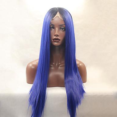 Kvinder Syntetiske parykker Blonde Front Lang Glat Blå Naturlig paryk kostume Parykker