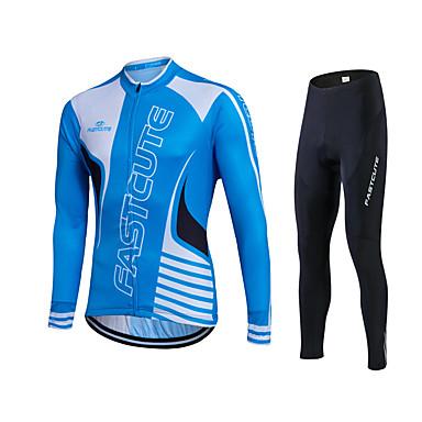 Fastcute Herrn Damen Langarm Fahrradtrikots mit Fahrradhosen - Remasuri + blau Fahhrad Strumpfhosen/Lange Radhose Trikot/Radtrikot