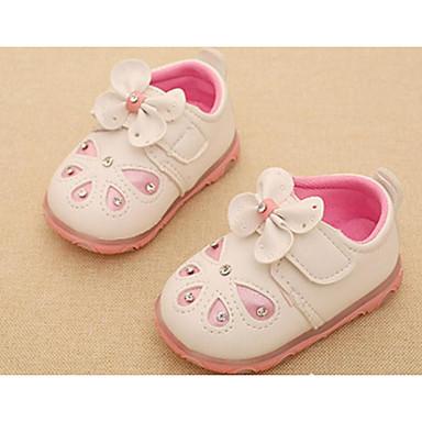 Unissex Bebê Sandálias Couro Ecológico Primavera Verão Outono Inverno Caminhada Laço Rasteiro Branco Vermelho Rosa claro Rasteiro