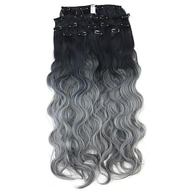 hesapli Sentetik Ek Saçlar-Neitsi Dalgalı Klasik Sentetik Saç 24 inç Ek saç Klipsli Ombre 1pack Kadın's Günlük