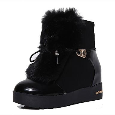 Støvler-Læder-Snowboots Modestøvler-Dame-Sort Hvid-Udendørs Fritid-Flad hæl
