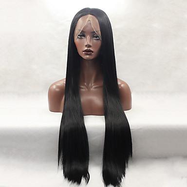 Syntetiske parykker Lige Sort Dame Blonde Front Naturlig paryk Lang Syntetisk hår