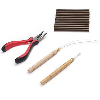 Keratine Wig anhaftender Kleber Verlängerungs-Werkzeuge Zangen Mikroring-Nadeln Kleber Pellets 4pcs/set