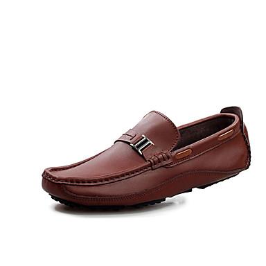 Loafers og Slip-ons-PU-Komfort-Herre-Sort Blå Brun-Fritid-Flad hæl