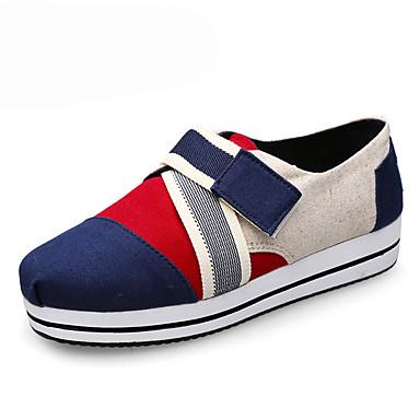 Dames Schoenen Canvas Lente / Herfst Comfortabel Sneakers Wandelen Plateau / Creepers Magic tape Rood / Groen