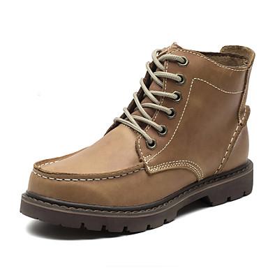 Heren Schoenen Leer Winter Laarzen Veters voor Causaal Bruin Groen koffie
