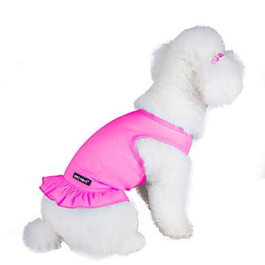 Gato Perro Vestidos Ropa para Perro Un Color Naranja Morado Rosa Azul Claro Algodón Disfraz Para mascotas Mujer Moda