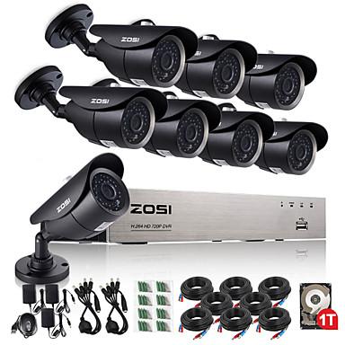 zosi® 8ch ahd 720p dvr 1tb hdd 8kpl 1,0 mp CCTV valvontajärjestelmä