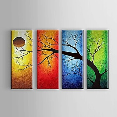 Hang-geschilderd olieverfschilderij Handgeschilderde - Abstract / Landschap / Stilleven Pastoraal / Modern / Europese Stijl Kangas / Vier panelen