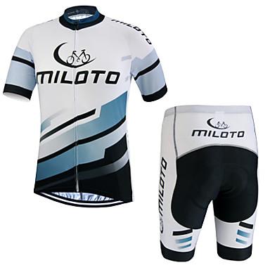 Miloto Heren Korte mouw Wielrenshirt met shorts Fietsen Short/Broekje Shirt Pakken, Sneldrogend, Ademend, Zweetafvoerend, Lente Zomer,