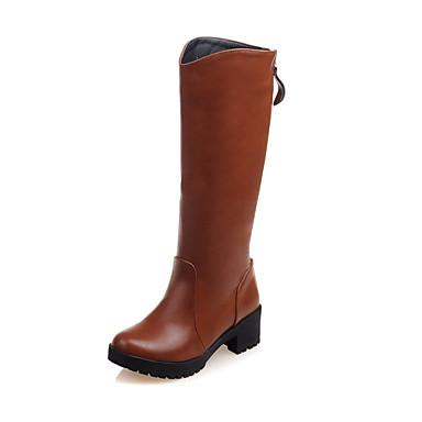 Støvler-Kunstlæder-Ridestøvler-Dame-Sort Brun-Formelt-Tyk hæl