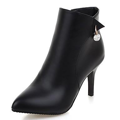Damen Schuhe Kunstleder Herbst / Winter Modische Stiefel / Stiefeletten Stiefel Stöckelabsatz Imitationsperle / Reißverschluss Schwarz /