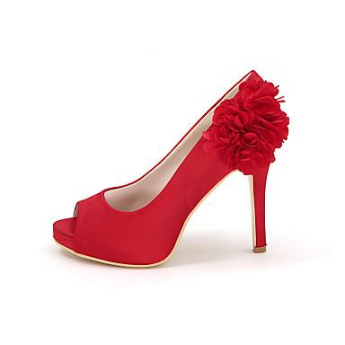 Talon ouvert Chaussures Aiguille Invalide Chaussures Eté Basique Appliques Bout Satin Invalide 06457966 Escarpin Printemps de mariage Femme vqfOq