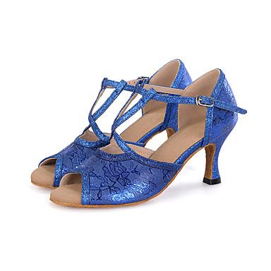 Dames Latin Jazz Modern Swingschoenen Glitter Synthetisch Sandalen Hakken Prestatie Professioneel Gesp Wijd uitlopende hak Rood Blauw