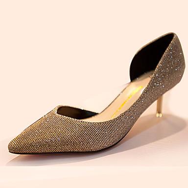 Dames Hoge hakken Comfortabel Polyester Zomer Causaal Comfortabel Stilettohak Zwart Gouden Lichtblauw 5 - 7 cm