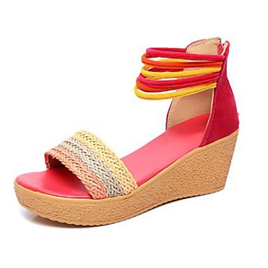 Mulheres Sapatos Poliester Verão Conforto Sandálias Salto Plataforma para Casual Fúcsia Camel