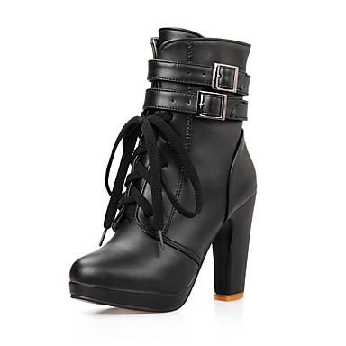 Støvler-Kunstlæder-Plateau Combat-støvler Modestøvler-Dame-Sort Hvid-Fritid Fest/aften-Tyk hæl
