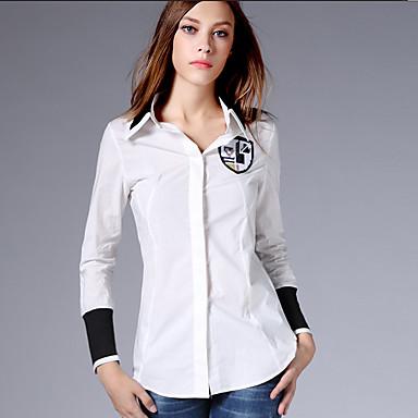 AJIDUO® Feminino Colarinho de Camisa Manga Comprida Shirt & Blusa Branco-9118