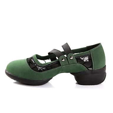 Mulheres Sapatos de Dança Moderna / Botas de Dança Camurça Têni Salto Baixo Não Personalizável Sapatos de Dança Preto / Vermelho / Verde / Ensaio / Prática
