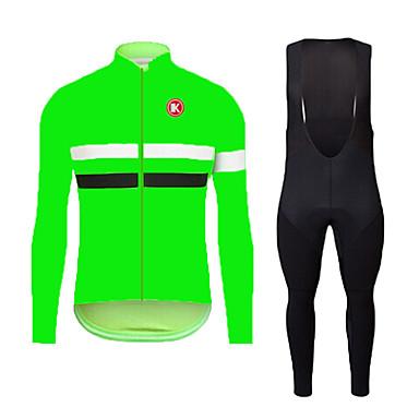 KEIYUEM Langt Ærme Cykeltrøje og tights med seler Unisex Cykel Tøjsæt/JakkesætÅndbart Hurtigtørrende Støv-sikker Påførelig