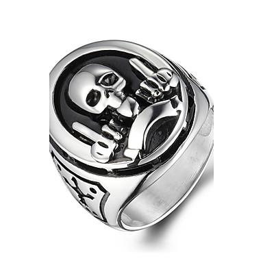 Heren Statement Ring Gepersonaliseerde Vintage Modieus Titanium Staal Schedel Kostuum juwelen Kerstcadeaus Halloween Dagelijks Causaal