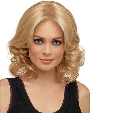 Synthetische Haare Perücken Locken Strähnchen/Balayage-Technik Kappenlos Natürliche Perücke Mittellang Blond Synthetische Perücken