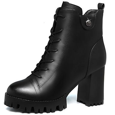 Støvler-Pels-Modestøvler-Dame-Sort Rød-Kontor Fritid-Tyk hæl