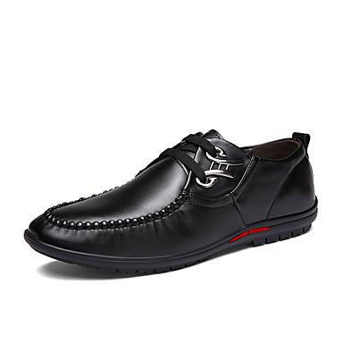 Oxfords-PU-Komfort-Herre-Sort Blå Brun-Fritid-Flad hæl