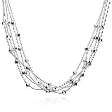 Dames gelaagde Kettingen - Sterling zilver, Verzilverd Tupsu Wit Kettingen Voor Feest, Dagelijks, Causaal