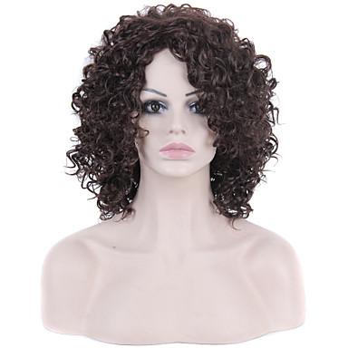 Synteettiset hiukset Peruukit Afro Suojuksettomat Luonnollinen peruukki Ruskea