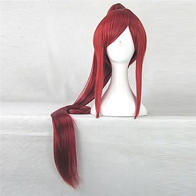 billige Kostymeparykk-Syntetiske parykker Kostymeparykker Rett Stil Med hestehale Lokkløs Parykk Rød Syntetisk hår Dame Rød Parykk hairjoy