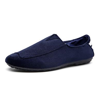 Masculino-Mocassins e Slip-Ons-Conforto-Rasteiro-Preto Azul-Tecido-Casual