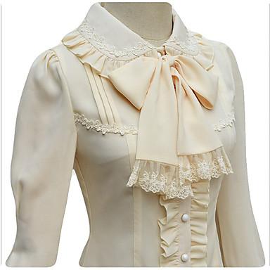 Doce Renda Mulheres Blusa / Camisa Cosplay Branco / Preto / Bege Manga Longa Comprimento Médio