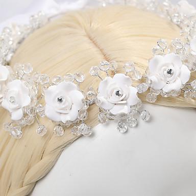 Γυναικείο Κορίτσι Λουλουδιών Σατέν Κρυστάλλινο Απομίμηση Μαργαριτάρι Headpiece-Γάμος Ειδική Περίσταση Καθημερινά Λουλούδια