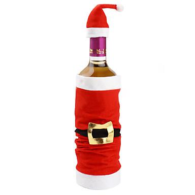 populares set high-end de pelúcia tampão de Papai Noel vinho tinto garrafa saco cobre decorações de natal coberta de natal