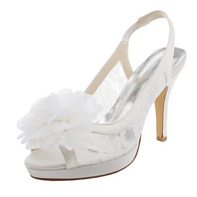 Mulheres Sapatos Cetim com Stretch Primavera Verão Sandálias Salto Agulha Plataforma Peep Toe Flor para Casamento Festas & Noite Social