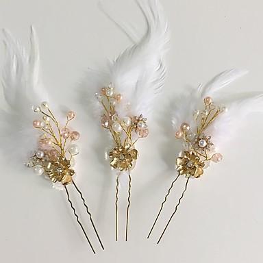 Akryl Strass Fjær Legering blomster Hårnål 1 Bryllup Spesiell Leilighet Avslappet Hodeplagg