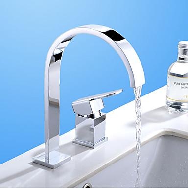 Nykyaikainen Moderni Kolmiosainen Vesiputous with  Keraaminen venttiili Kaksi reikää Yksi kahva kaksi reikää for  Kromi , Kylpyhuone Sink