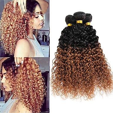 voordelige Weaves van echt haar-3 bundels Braziliaans haar Gekruld Curly Weave 10A Onbehandeld haar Ombre Ombre Menselijk haar weeft Extensions van echt haar