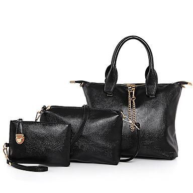 女性用 バッグ PU バッグセット 3個の財布セット のために イベント/パーティー カジュアル フォーマル オフィス&キャリア オールシーズン ブラック グレー ブルー ピンク
