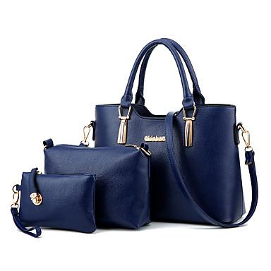 女性用 バッグ PU バッグセット / ジッパ- ラッフル ライトブルー / 濃いピンク / ライトグレー