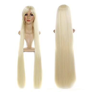 女性 人工毛ウィッグ キャップレス ストレート ブリーチブロンド バング付き ナチュラルウィッグ コスチュームウィッグ