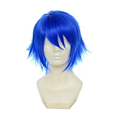 halpa Rooliasu peruukki-Synteettiset peruukit / Pilailuperuukit Suora Tyyli Otsatukalla Suojuksettomat Peruukki Sininen Sininen Synteettiset hiukset Naisten Sininen Peruukki Lyhyt Cosplay-peruukki