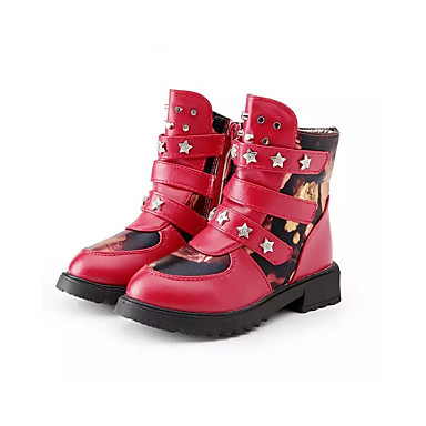 Meisjes Schoenen PU Winter Comfortabel / Snowboots Laarzen Wandelen Rits / Magic tape voor Zwart / Rood / Roze