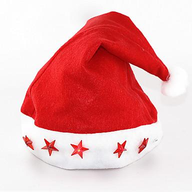 12pcs / lot ano novo feliz / suprimentos natal chapéu eletrônico luz para cima tampão de cinco estrelas da lâmpada luminosa chapéu