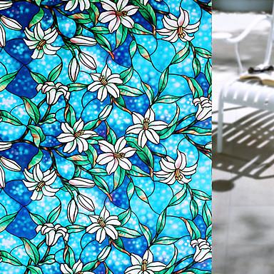 Floral Moderna Película para Vidros, PVC/Vinil Material Decoração de janela Sala de Jantar Quarto Escritório Quarto das Crianças Sala de
