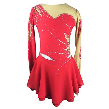 Eiskunstlaufkleid Damen / Mädchen Eislaufen Kleider Rot Strass Hochelastisch Outdoor Kleidung / Leistung Eiskunstlaufkleidung Handgemacht