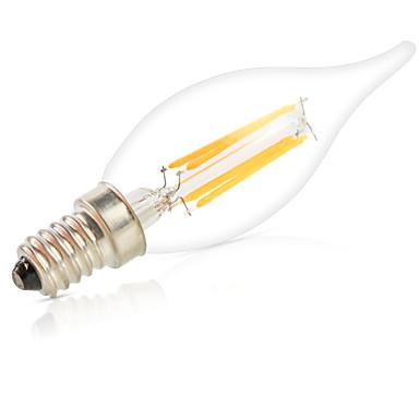 HRY 1pc 6W 560lm E14 LED-glødepærer C35L 6 LED perler COB Mulighet for demping Dekorativ Varm hvit Kjølig hvit 220-240V