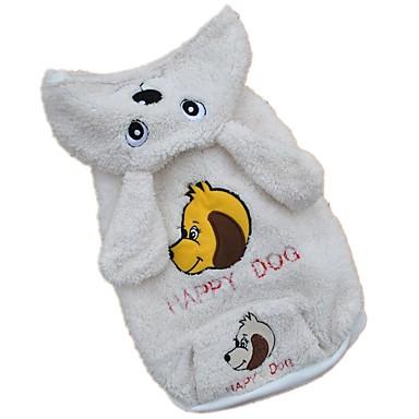 Hund Kostume Hettegensere Hundeklær Dyr Hvit Polar Fleece Kostume For kjæledyr Herre Dame Søtt Cosplay